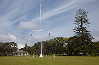 Waitangi Treaty House, Paihia, north island, New Zealand.  Here, in 1840, the treaty leading to British sovereignty over New Zealand was signed between the British and Maori people.  The ship's mast marks the place where the treaty was signed.