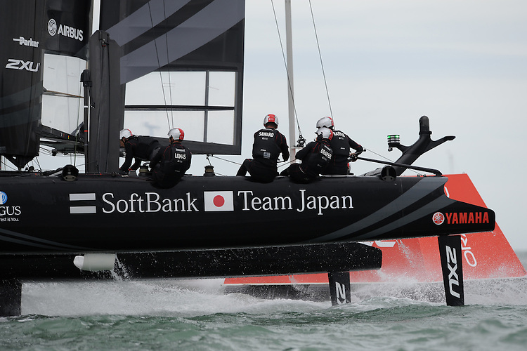 SoftBank Team Japan, JULY 24, 2016 - Sailing: Dean Barker helmed SoftBank Team Japan to a podium place during day two of the Louis Vuitton America's Cup World Series racing, Portsmouth, United Kingdom. (Photo by Rob Munro/Stewart Communications)