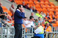 Blackpool manager Gary Bowyer shouts instructions to his team from the dug-out<br /> <br /> Photographer Kevin Barnes/CameraSport<br /> <br /> Football - The EFL Sky Bet League Two - Blackpool v Exeter City - Saturday 6th August 2016 - Bloomfield Road - Blackpool<br /> <br /> World Copyright © 2016 CameraSport. All rights reserved. 43 Linden Ave. Countesthorpe. Leicester. England. LE8 5PG - Tel: +44 (0) 116 277 4147 - admin@camerasport.com - www.camerasport.com