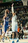 Real Madrid´s Ioannis Bourousis and Anadolu Efes´s Matt Janning during 2014-15 Euroleague Basketball match between Real Madrid and Anadolu Efes at Palacio de los Deportes stadium in Madrid, Spain. December 18, 2014. (ALTERPHOTOS/Luis Fernandez)