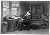 """England, Undated  drawing - circa 1860 - <br /> charles dickens in his study.<br /> <br /> Charles John Huffam Dickens, FRSA  7 February 1812 › 9 June 1870), pen-name """"Boz"""", was one of the most popular English novelists of the Victorian era as well as a vigorous social campaigner."""
