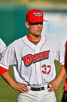 Matt Thaiss (37) of the Orem Owlz before the game against the Ogden Raptors in Pioneer League action at Home of the Owlz on June 25, 2016 in Orem, Utah. Orem defeated Ogden 4-1.  (Stephen Smith/Four Seam Images)