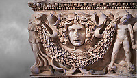 Roman relief garland  sculpted sarcophagus, style typical of Pamphylia, 3rd Century AD, Konya Archaeological Museum, Turkey.