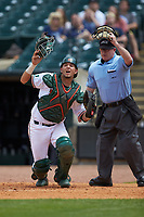 Home plate umpire Danny Collins and Miami Hurricanes catcher Joe Gomez (40) watch a ball against the Georgia Tech Yellow Jackets during game one of the 2017 ACC Baseball Championship at Louisville Slugger Field on May 23, 2017 in Louisville, Kentucky. The Hurricanes walked-off the Yellow Jackets 6-5 in 13 innings. (Brian Westerholt/Four Seam Images)