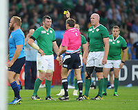 Peter O'Mahony of Ireland is shown a yellow card by Referee Jérôme Garcès of France during Match 28 of the Rugby World Cup 2015 between Ireland and Italy - 04/10/2015 - Queen Elizabeth Olympic Park, London<br /> Mandatory Credit: Rob Munro/Stewart Communications