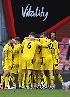 13th March 2021; Vitality Stadium, Bournemouth, Dorset, England; English Football League Championship Football, Bournemouth Athletic versus Barnsley; Dominik Frieser of Barnsley celebrates with his team after scoring in 60th minute 2-2