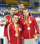 Toronto, Ontario, August 12, 2015. Mens 4x100m relay team, Nathan Stein, Zack McAllister, Zach Zona and Jean Michel Lavalliere wins silver at  the swimming during the 2015 Parapan Am Games . Photo Scott Grant/Canadian Paralympic Committee