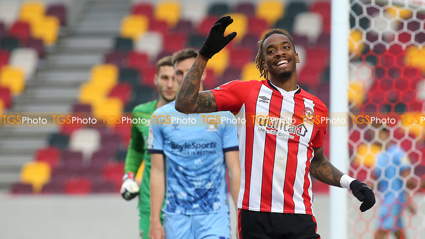Ivan Toney of Brentford shows his frustration after missing an opportunity to score during Brentford vs Coventry City, Sky Bet EFL Championship Football at the Brentford Community Stadium on 17th October 2020