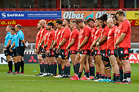 21st August 2020; Kingsholm Stadium, Gloucester, Gloucestershire, England; English Premiership Rugby, Gloucester versus Bristol Bears; Gloucester line up before the game