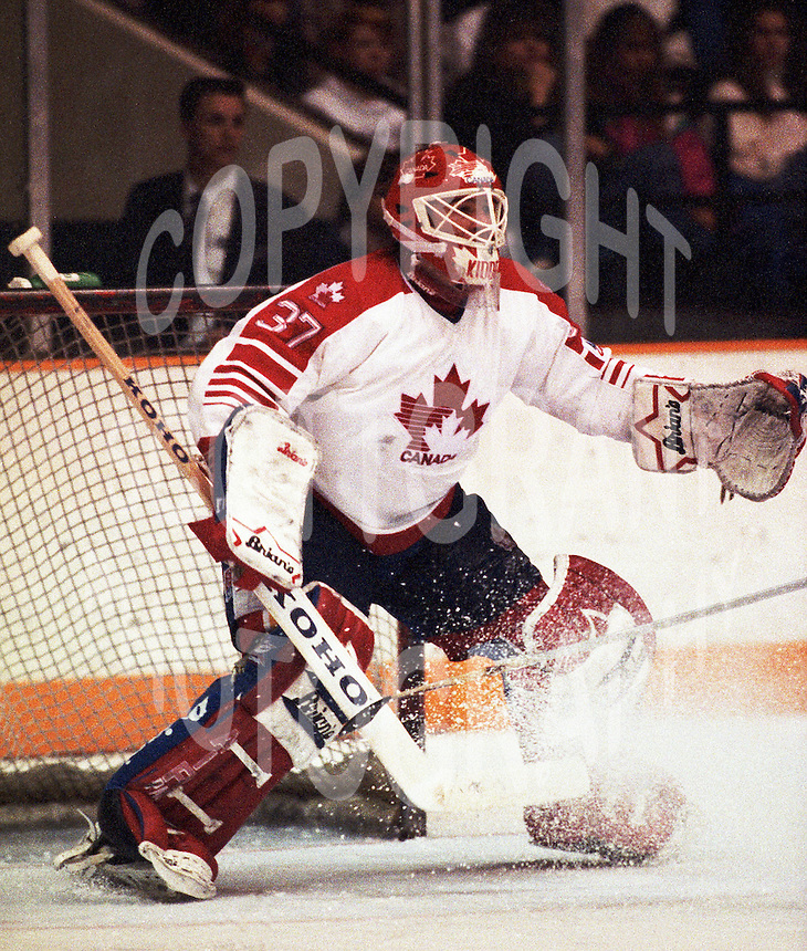 Trevor Kidd Team Canada 1991. Photo copyright F. Scott Grant