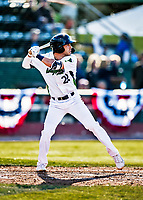 29 May 2021: Vermont Lake Monsters outfielder Spencer Williams, from Northridge, CA, at bat against the Norwich Sea Unicorns at Centennial Field in Burlington, Vermont. The Lake Monsters defeated the Unicorns 6-3 in their FCBL Home Opener, the first home game played at Centennial Field post-Covid-19 pandemic. Mandatory Credit: Ed Wolfstein Photo *** RAW (NEF) Image File Available ***