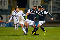 29th December 2020; Dens Park, Dundee, Scotland; Scottish Championship Football, Dundee FC versus Alloa Athletic; Steven Hetherington of Alloa Athletic challenges for the ball with Shaun Byrne and Danny Mullen of Dundee