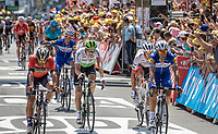 Julian Alaphilippe (FRA/Quick Step Floors) happy with the win of his teammate Fernando Gaviria (COL/Quick Step Floors)<br /> <br /> Stage 1: Noirmoutier-en-l'Île > Fontenay-le-Comte (189km)<br /> <br /> Le Grand Départ 2018<br /> 105th Tour de France 2018<br /> ©kramon