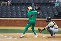 Jared Miller (16) of the Notre Dame Fighting Irish at bat against the Wake Forest Demon Deacons at David F. Couch Ballpark on March 10, 2019 in  Winston-Salem, North Carolina. The Demon Deacons defeated the Fighting Irish 7-4 in game one of a double-header.  (Brian Westerholt/Four Seam Images)