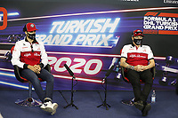 12th November 2020; Istanbul Park, Istanbul, Turkey;   FIA Formula One World Championship 2020, Grand Prix of Turkey, 99 Antonio Giovinazzi ITA, Alfa Romeo Racing ORLEN and 7 Kimi Raikkonen FIN, Alfa Romeo Racing ORLEN pre race press conference