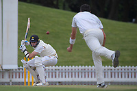 Danru Ferns bowls to Michael Snedden during day three of the Plunket Shield match between the Wellington Firebirds and Auckland Aces at the Basin Reserve in Wellington, New Zealand on Monday, 16 November 2020. Photo: Dave Lintott / lintottphoto.co.nz