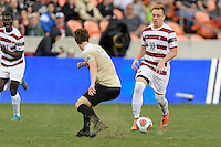 Houston, TX - Friday December 11, 2016: Corey Baird (10) of the Stanford Cardinal brings the ball up the field against the Wake Forest Demon Deacons at the NCAA Men's Soccer Finals at BBVA Compass Stadium in Houston Texas.