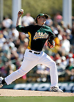 Trevor Cahill - Oakland Athletics - 2009 spring training.Photo by:  Bill Mitchell/Four Seam Images