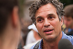 Mark Ruffalo, actor, speaks with the media before the Peoples Climate March in New York city. More than 300,000 march in solidarity for Climate accountability, at the People's Climate March on September 21, 2014. (Credit: Robert van Waarden)