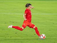 YOKOHAMA, JAPAN - AUGUST 6: Jessie Fleming #17 of Canada converts a penalty during a game between Canada and Sweden at International Stadium Yokohama on August 6, 2021 in Yokohama, Japan.