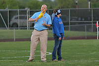 Piscataway, NJ, May 7, 2016. Half time at the Sky Blue game includes a contest where a blindfolded Sky Blue fan tries to find a rubber chicken with the crowd's assistance. The Western New York Flash defeated Sky Blue FC, 2-1, in a National Women's Soccer League (NWSL) match at Yurcak Field.