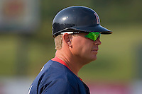 Greenville Drive manager Kevin Boles (19) from the third base coaches box at Fieldcrest Cannon Stadium in Kannapolis, NC, Sunday August 10, 2008. (Photo by Brian Westerholt / Four Seam Images)