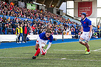Laure Sansus of France scores her sides fifth try during the Women's Six Nations Championship Round 3 match between Wales and France at the Cardiff Arms Park in Cardiff, Wales, UK. Sunday 23 February 2020