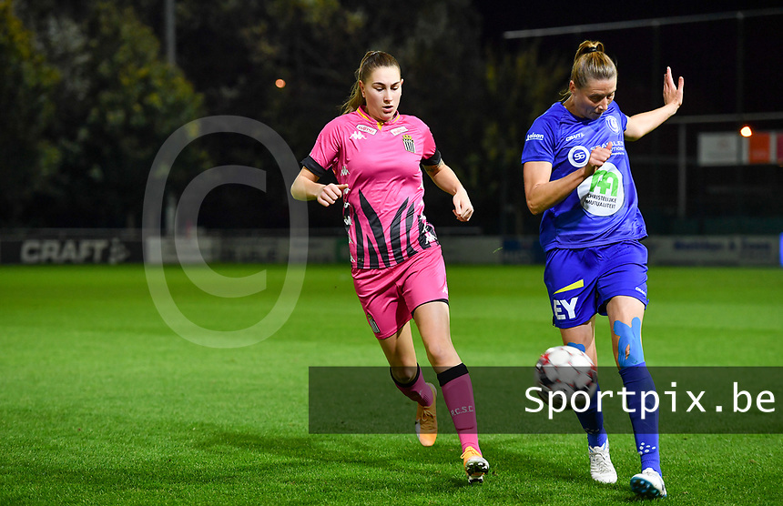 Estelle Dessilly (13 Charleroi) pictured with Heleen Jaques (4 Gent) during a female soccer game between  AA Gent Ladies and Sporting Charleroi Feminin on the fifth matchday of the 2020 - 2021 season of Belgian Scooore Womens Super League , friday 16 th of October 2020  in Oostakker , Belgium . PHOTO SPORTPIX.BE | SPP | DAVID CATRY