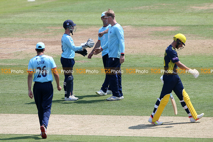 Simon Harmer of Essex celebrates with his team mates after taking the wicket of Joe Weatherley during Hampshire Hawks vs Essex Eagles, Royal London One-Day Cup Cricket at The Ageas Bowl on 22nd July 2021