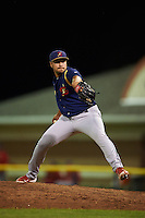State College Spikes pitcher Max Almonte (44) delivers a pitch during a game against the Batavia Muckdogs August 23, 2015 at Dwyer Stadium in Batavia, New York.  State College defeated Batavia 5-3.  (Mike Janes/Four Seam Images)