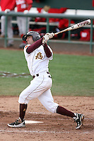 Deven Marrero #17 of the Arizona State Sun Devils bats against the University of New Mexico Lobos in game two of the 2011 season opening series on February 20, 2011 at Packard Stadium, Arizona State University, in Tempe, Arizona..Photo by:  Bill Mitchell/Four Seam Images.