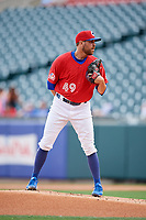 Buffalo Bisons starting pitcher Conor Fisk (49) looks in for the sign during a game against the Lehigh Valley IronPigs on June 23, 2018 at Coca-Cola Field in Buffalo, New York.  Lehigh Valley defeated Buffalo 4-1.  (Mike Janes/Four Seam Images)