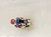4 December 2015: Robin Johannes Geueke and David Gamm, sliding for Germany, bank into a turn on their first run of the Doubles Competition during the Viessmann Luge World Cup Series at the Olympic Sports Track in Lake Placid, New York, USA. Mandatory Credit: Ed Wolfstein Photo *** RAW (NEF) Image File Available ***