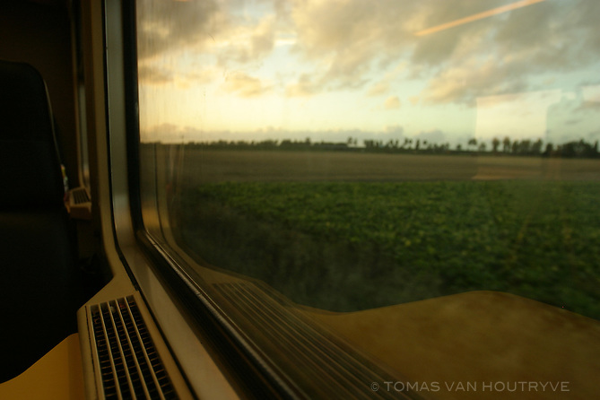 The view from a train window heading toward the De Panne station in Belgium on 13 August, 2004.<br />