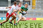 Killian Spillane, Kerryin action against Michael McKernan and Niall Sludden, Tyrone during the All Ireland Senior Football Semi Final between Kerry and Tyrone at Croke Park, Dublin on Sunday.