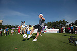 Paul Scholes kicks a football at the 14th hole during the World Celebrity Pro-Am 2016 Mission Hills China Golf Tournament on 22 October 2016, in Haikou, China. Photo by Victor Fraile / Power Sport Images