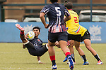Kevin Dixon Joseph (l) of Sri Lanka fights for the ball during the match between Malaysia and Thailand of the Asia Rugby U20 Sevens Series 2016 on 12 August 2016 at the King's Park, in Hong Kong, China. Photo by Marcio Machado / Power Sport Images