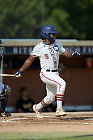 Kier Meredith (3) (Clemson) of the High Point-Thomasville HiToms follows through on his swing against the Statesville Owls at Finch Field on July 19, 2020 in Thomasville, NC. The HiToms defeated the Owls 21-0. (Brian Westerholt/Four Seam Images)