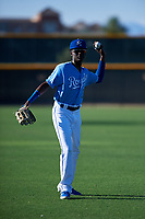 AZL Royals Diego Hernandez (6) warms up before an Arizona League game against the AZL Brewers Blue at Surprise Stadium on June 18, 2019 in Surprise, Arizona. AZL Royals defeated AZL Brewers Blue 12-7. (Zachary Lucy/Four Seam Images)