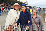 Theresa Grimes, Noreen O'Donnell and Kay Walsh from Tralee, enjoying the Listowel Racing festival on Tuesday afternoon in Listowel.
