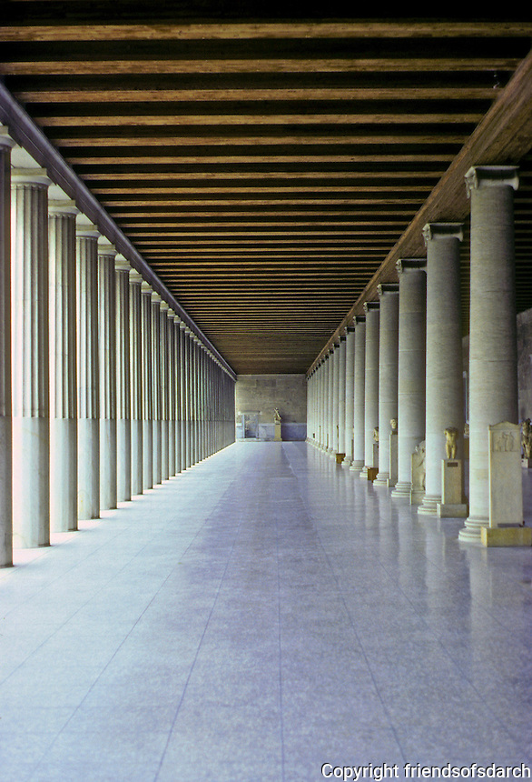 """Athens: The Stor of Attalus. View down collonades. (These porticos """"were the most characteristic and successful contribution of the Hellenistic Greeks to city planning,"""" according to Michael Grant. Photo '82."""