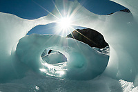 An ice cave, slowly melting away but offering a great picture on Franz Josef Glacier - Westland National Park, West Coast