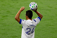 LOS ANGELES, CA - SEPTEMBER 02: Nick Lima #24 of the San Jose Earthquakes with a throw in during a game between San Jose Earthquakes and Los Angeles FC at Banc of California stadium on September 02, 2020 in Los Angeles, California.