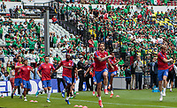 Mexico City, Mexico - Sunday June 11, 2017: Omar Gonzalez, DeAndre Yedlin, Bobby Wood, DaMarcus Beasley, Geoff Cameron, Kellyn Acosta, Tim Ream, Michael Bradley, USMNT and the US men's national team during a 2018 FIFA World Cup Qualifying Final Round match with both men's national teams of the United States (USA) and Mexico (MEX) playing to a 1-1 draw at Azteca Stadium.