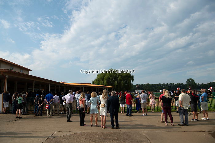 The horses get a final look in the paddock before the compete in the Runhappy Ellis Park Derby's 10th race for a $200,000 purse at Ellis Park in Henderson, Ky., Sunday afternoon, Aug. 9, 2020. The race is a qualifier for the upcoming Sept. 5, 2020, Kentucky Derby, with 85 points (50-20-10-5) up for grabs.