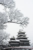 Matsumoto Castle under a winter snowfall, Matsumoto, Nagano, Japan.