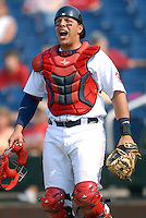 Catcher Luis Exposito of the Portland Sea Dogs in action vs. the New Britain Rock Cats at Hadlock Field in Portland, Maine on May 31, 2010 (Photo by Ken Babbitt/Four Seam Images)