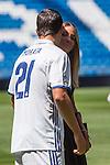 Real Madrid's Alvaro Morata  and her girlfriend Alice Campello during the presentation of the player at the Santiago Bernabeu Stadium. August 15, 2016. (ALTERPHOTOS/Rodrigo Jimenez)