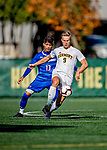 26 October 2019: University of Vermont Catamount Forward Rasmus Tobinski, a Freshman from Kiel, Germany, in first half action against the University of Massachusetts Lowell River Hawks at Virtue Field in Burlington, Vermont. The Catamounts rallied to defeat the River Hawks 2-1, propelling the Cats to the America East Division 1 conference playoffs. Mandatory Credit: Ed Wolfstein Photo *** RAW (NEF) Image File Available ***