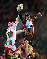George Robson of Harlequins outjumps Wenceslas Lauret of Biarritz Olympique in the lineout during the Heineken Cup match between Harlequins and Biarritz Olympique Pays Basque at the Twickenham Stoop on Saturday 13th October 2012 (Photo by Rob Munro)